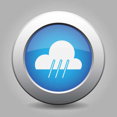 weather forecast: blue metal button with white weather - rainy Illustration