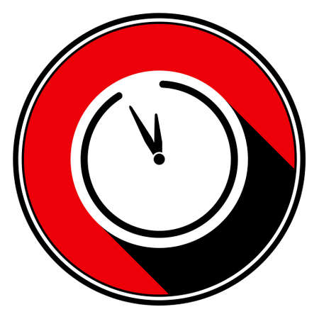black shadow: information icon - red circle with black outline, black and white last minute clock with stylized black shadow Illustration