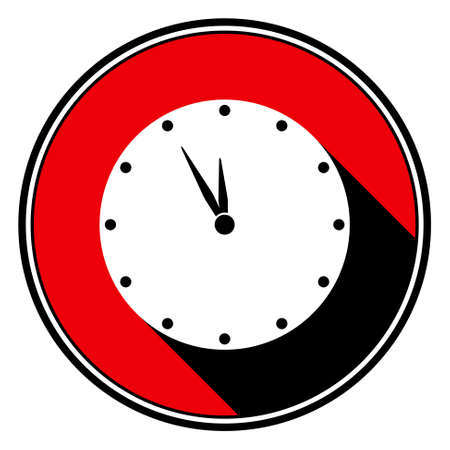 black shadow: information icon, red circle with black outline, black and white last minute clock with stylized black shadow