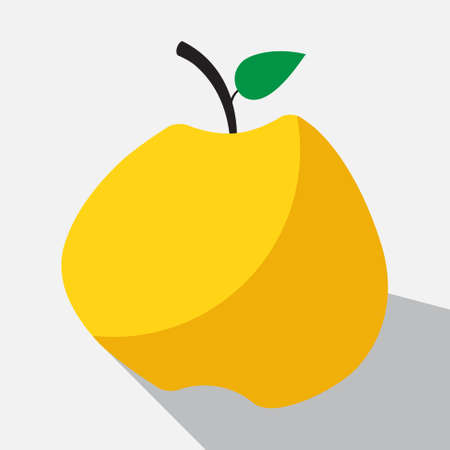 yellow apple: yellow apple with stalk and green leaf and long shadow on a white background Illustration