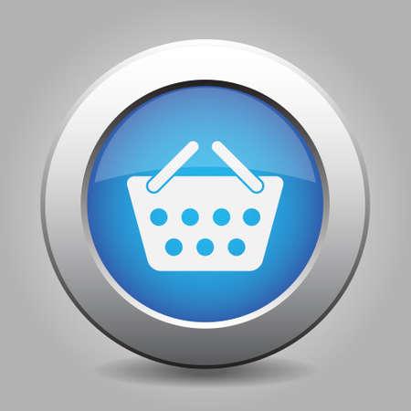 shopping basket: blue metal button - with white shopping basket Illustration