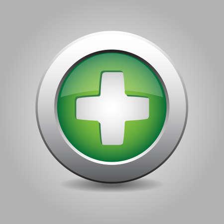 plus symbol: green metal button with white plus symbol