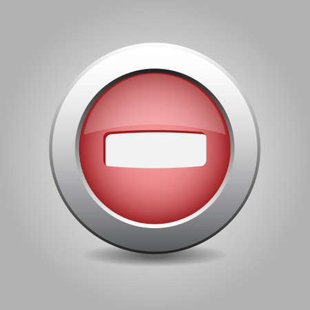 red metal: red metal button with white minus symbol Illustration