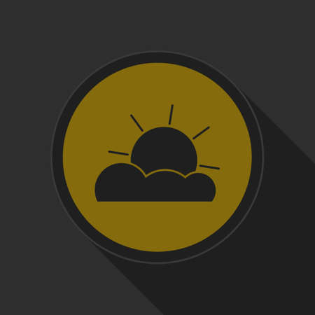 partly cloudy: dark gray and yellow icon - partly cloudy on circle with long shadow
