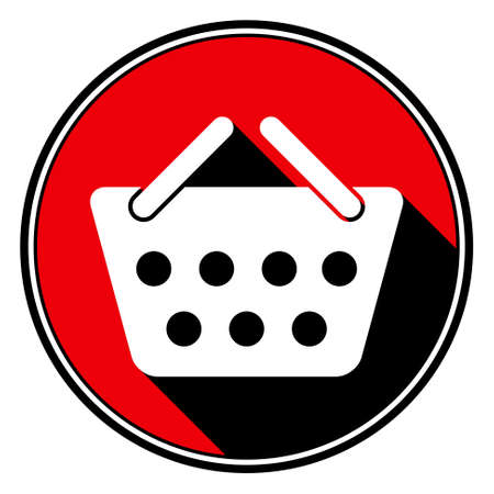 go to store: information icon - red circle with black outline and white shopping basket with stylized black shadow