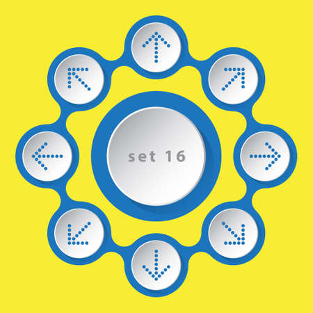 sideways: blue white icons - arrows in eight directions on a yellow background