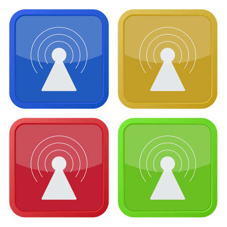 gprs: set of four colored square icons with transmitter