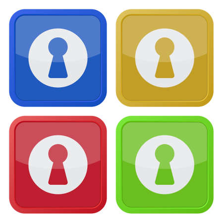 slit: set of four colored square icons with keyhole