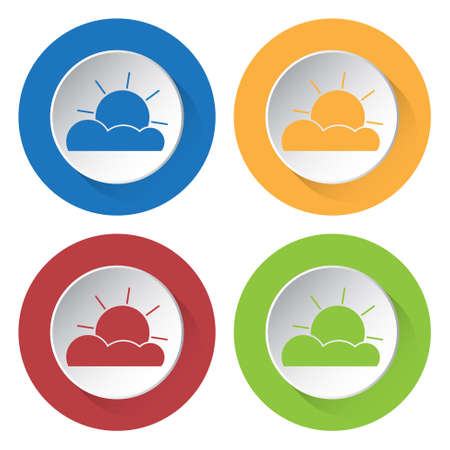 partly: set of four colored icons - partly cloudy