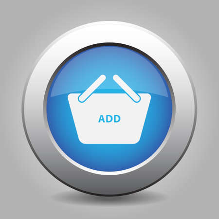 add to basket: blue metal button with white shopping basket add