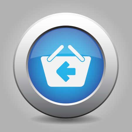 shopping basket: blue metal button - with white shopping basket back Illustration