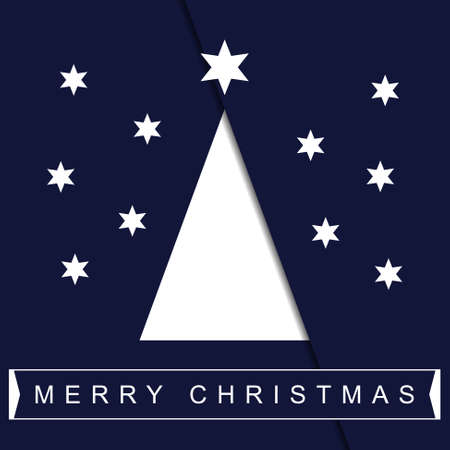greeting stylized: greeting card - stylized Christmas white tree with stars and text on a deep blue background Illustration