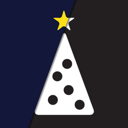 yellow star: greeting card - stylized Christmas white tree with yellow star and black balls on a deep blue and black background Illustration