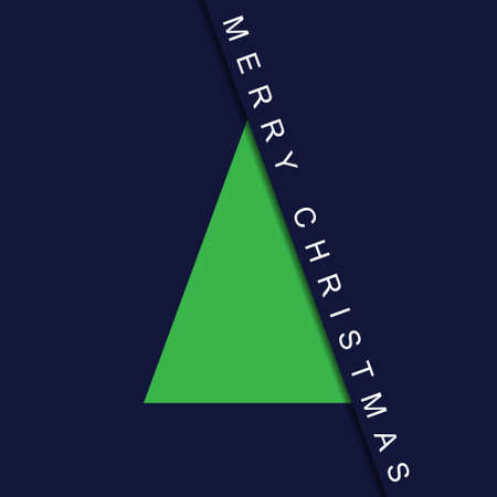 greeting stylized: greeting card - stylized Christmas green tree with text on a deep blue background