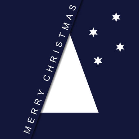 greeting stylized: greeting card - stylized Christmas white tree with two stars and text on a deep blue background