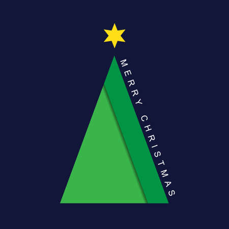 greeting stylized: greeting card - stylized Christmas green tree with yellow star and text on a deep blue background