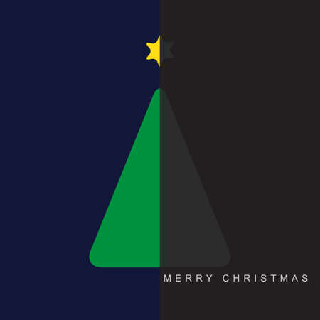halved: greeting card - stylized Christmas halved green and gray tree with yellow star and text on a deep blue and gray background