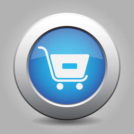 go to store: blue metal button - with white shopping cart minus