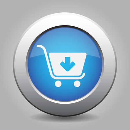 go to store: blue metal button - with white shopping cart add