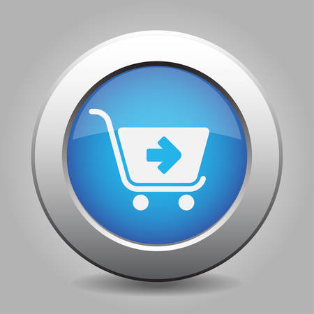 go to store: blue metal button - with white shopping cart next