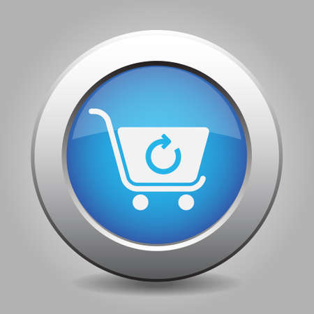 go to store: blue metal button - with white shopping cart refresh Illustration