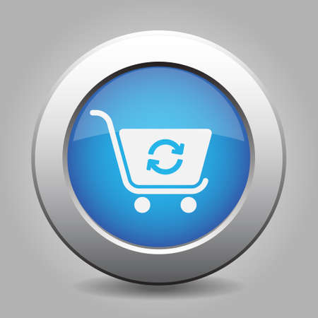 go to store: blue metal button with white shopping cart refresh