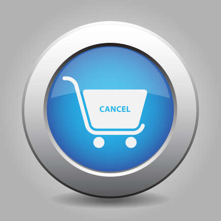 chrome cart: blue metal button with white shopping cart cancel