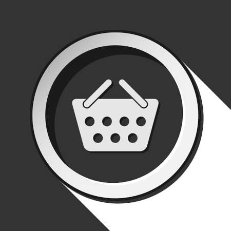go to store: black icon with shopping basket and white stylized shadow