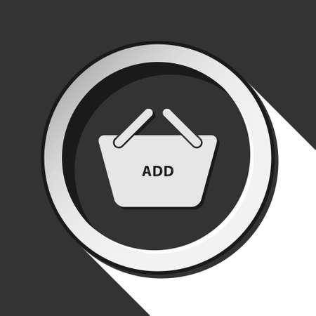 add to basket: black icon - shopping basket add and white stylized shadow Illustration