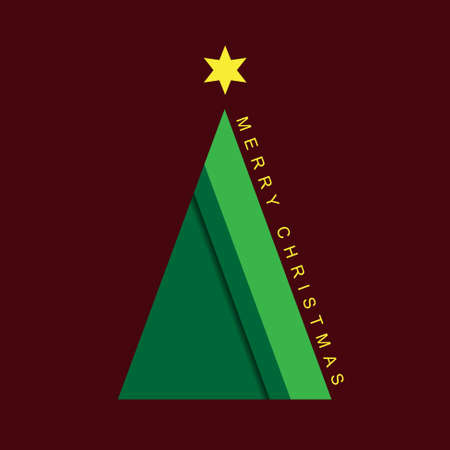 greeting stylized: greeting card - stylized Christmas green tree with yellow star and text on a purple background