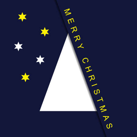 greeting stylized: greeting card - stylized Christmas white tree with stars and text on a dark blue background