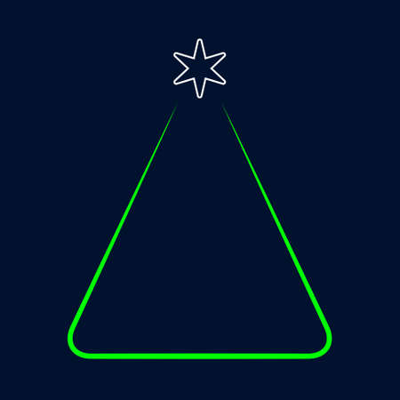 greeting stylized: greeting card - simple stylized Christmas green tree with white star on a dark blue background