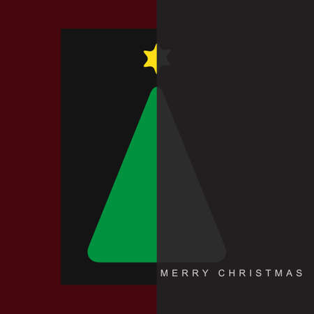 halved: greeting card - stylized Christmas halved green and gray tree with yellow star and text on a purple, black and gray background