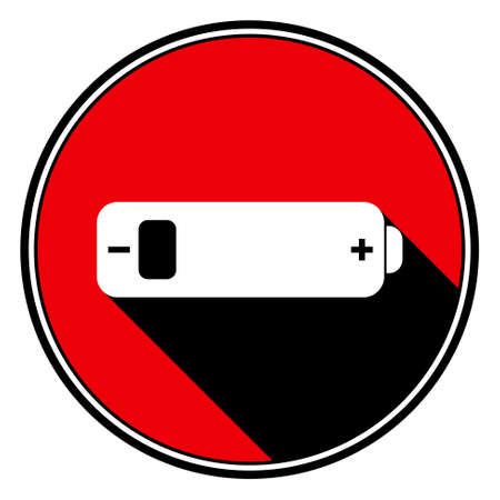 indicator board: information icon, red circle with black outline and white battery low with stylized black shadow Illustration