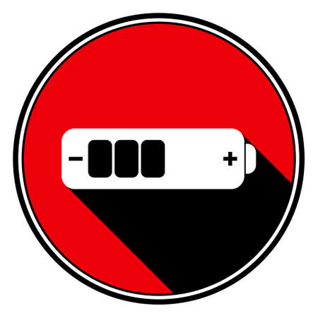 information medium: information icon, red circle with black outline and white battery medium with stylized black shadow Illustration