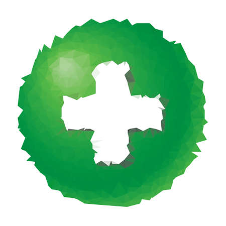green plus: low poly - green button with white plus symbol
