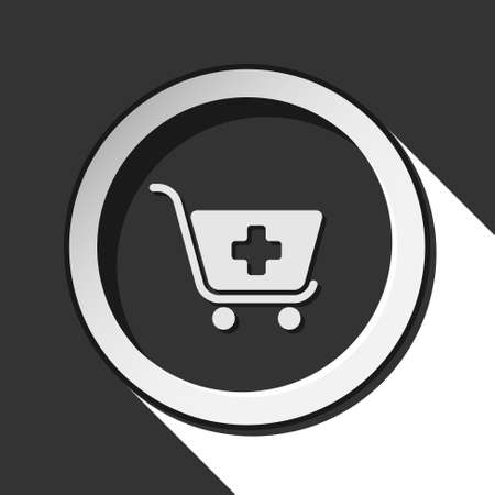 go to store: black icon with shopping cart plus and white stylized shadow