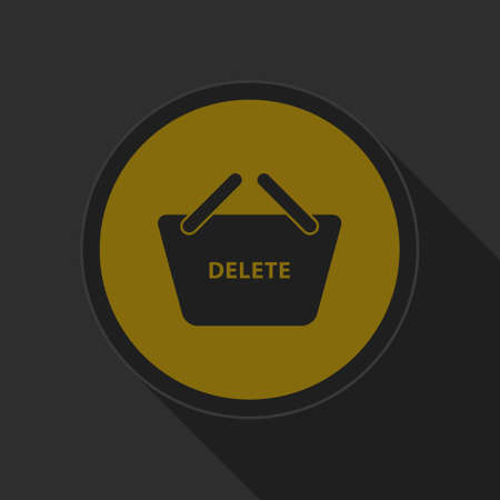 go to store: dark gray and yellow icon - shopping basket delete on circle with long shadow