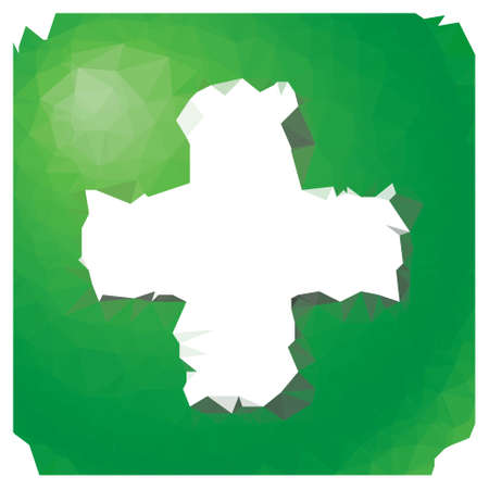 green plus: low poly - green square button with white plus symbol
