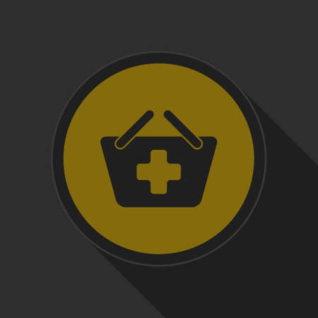 go to store: dark gray and yellow icon - shopping basket plus on circle with long shadow Illustration