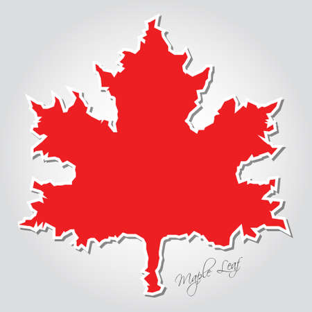 red maple leaf: sticker - stylized red maple leaf with irregular white contour, shadow and text Illustration