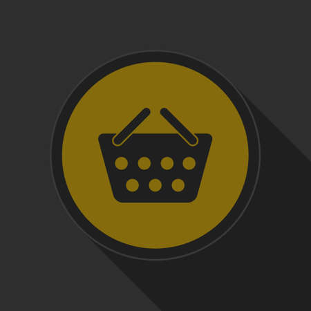 go to store: dark gray and yellow icon - shopping basket on circle with long shadow