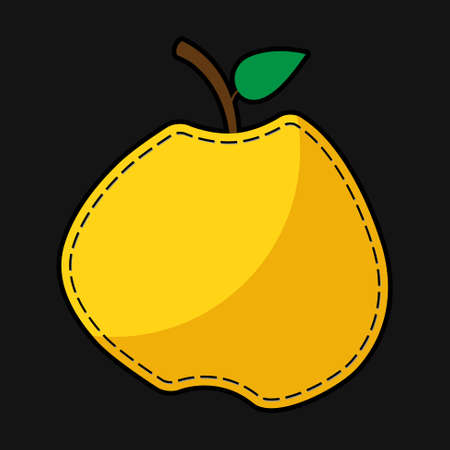 yellow apple: stylized seam yellow apple apple with shadow on a black background