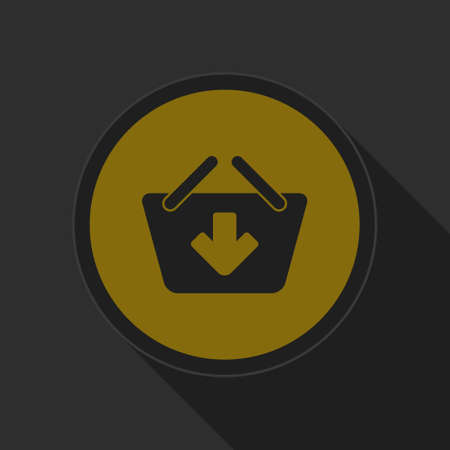 add to basket: dark gray and yellow icon - shopping basket on circle with long shadow add Illustration
