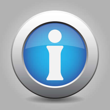 blue button: blue metal button - with white information symbol Illustration