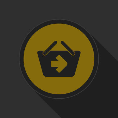 go to store: dark gray and yellow icon - shopping basket next on circle with long shadow