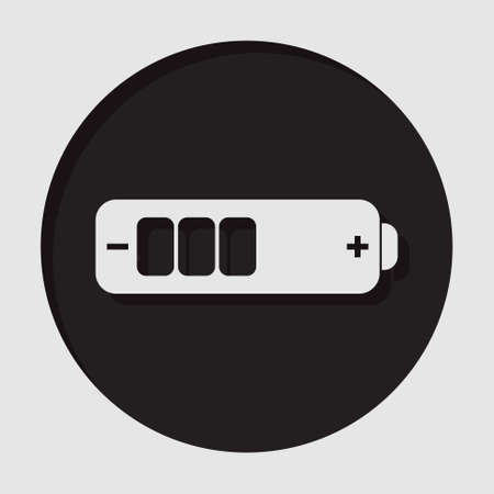 information medium: information icon - dark circle with white battery medium and shadow