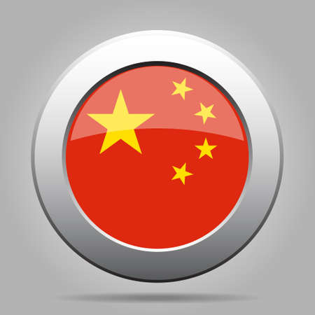 chinese flag: metal button with the national flag of China on a gray background Illustration