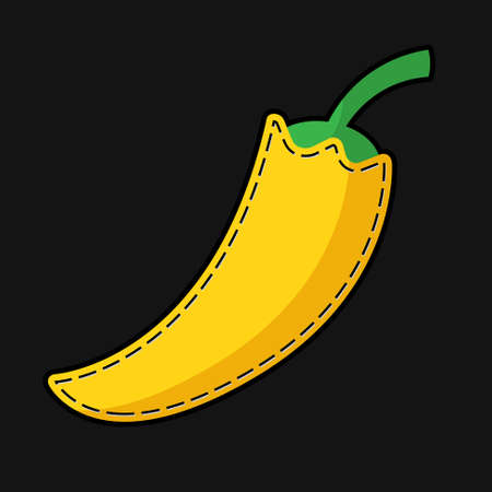 seam: stylized seam yellow paprika with shadow on a black background