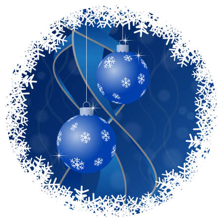 blue ball: Christmas greeting card - two blue Christmas baubles with white snowflakes and ribbons on a blue background and snowflakes border Illustration
